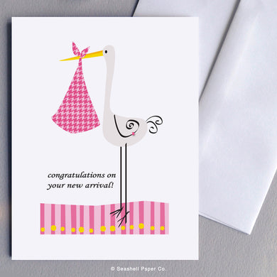 New Baby Girl Stork Card - seashell-paper-co