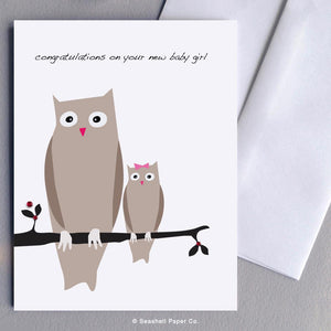 New Baby Girl Owl Card Wholesale (Package of 6) - seashell-paper-co
