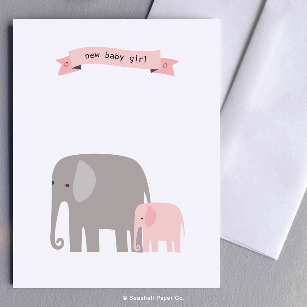 New Baby Girl Elephant - seashell-paper-co