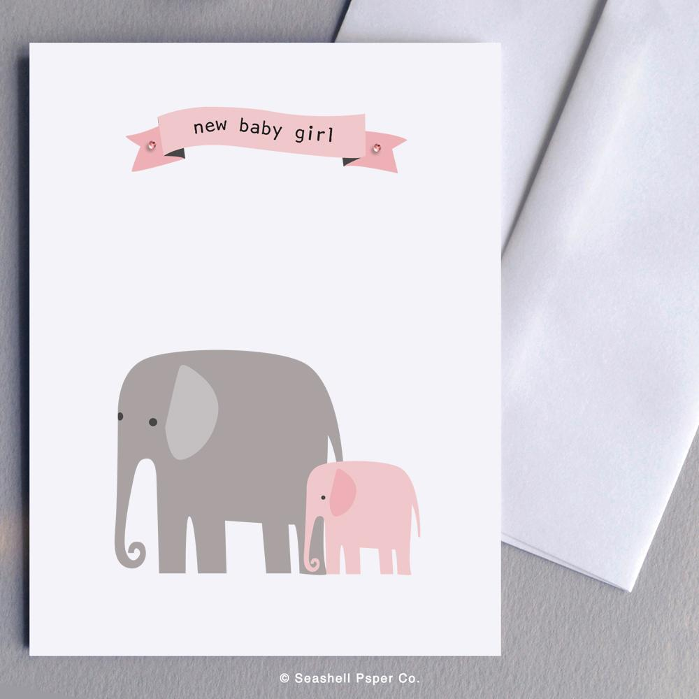 New Baby Girl Elephant Wholesale (Package of 6) - seashell-paper-co