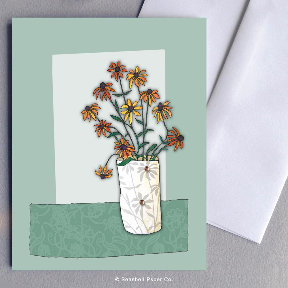 Blank Daisies Card Wholesale (Package of 6) - seashell-paper-co