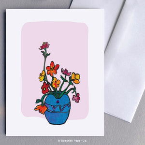 Blank Vase With Flowers Card Wholesale (Package of 6) - seashell-paper-co