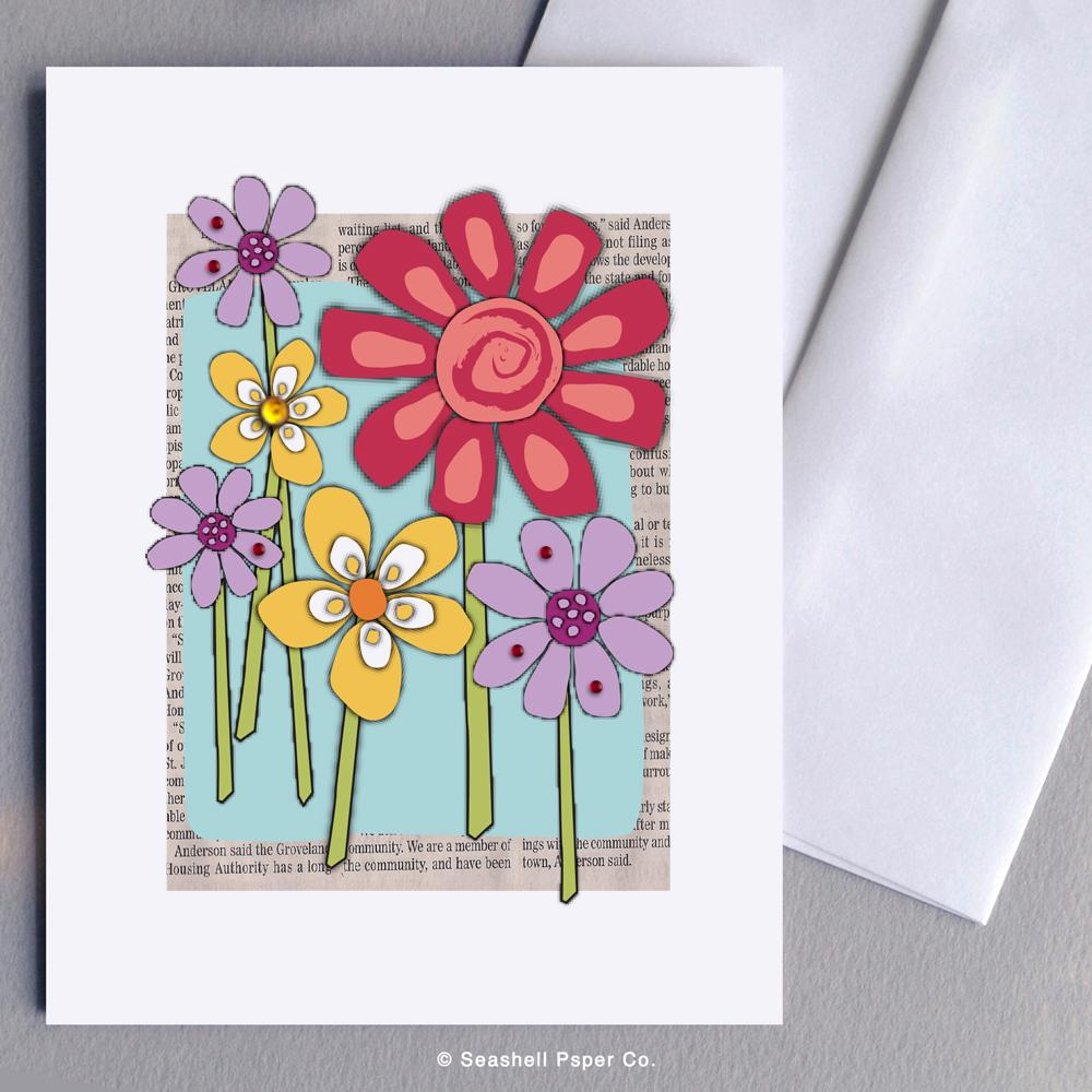 Blank Flowers Card Wholesale (Package of 6) - seashell-paper-co
