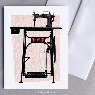 Blank Vintage Sewing Machine Card - seashell-paper-co