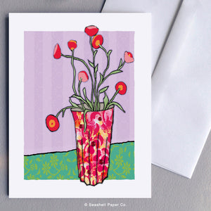 Greeting Cards, Blank Greeting Card, Carte de vœux française, Carte de voeux française vide, Flowers in Vase Card, fleurs en carte vase, vase avec carte de fleurs, Flowers in Vase Greeting Card, Carte de voeux de fleurs en vase, Seashell Paper Co., Stationary, Made in Canada, Fabriqué au Canada, Sale, Vente