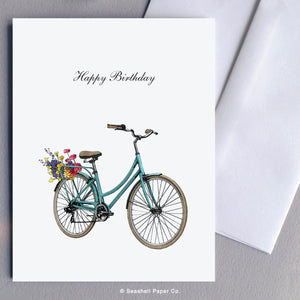 Birthday Retro Bicycle Card With Flowers