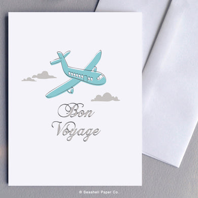 Bon Voyage Airplane Card Wholesale (Package of 6) - seashell-paper-co