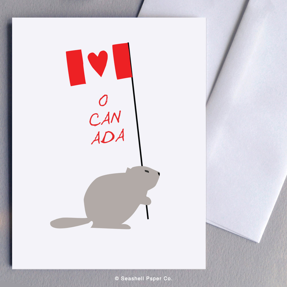 Greeting Cards, Canada, Canada Greeting Card, I Love Canada, I Love Canada Card, I Love Canada Greeting Card, O Canada, O Canada Card, O Canada Greeting Card, Beaver, Beaver Greeting Card, Canadian Flag, Canadian Flag Card, Canadian Flag Greeting Card, Beaver with Canadian Flag Card, Seashell Paper Co., Made in Canada