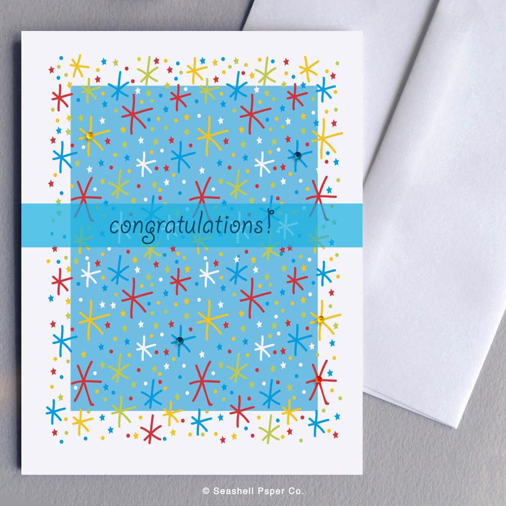 Greeting Card, Congratulations, Congratulations Card, Congratulations Greeting Card, Fireworks, Fireworks Congratulations Card, Fireworks Congratulations Greeting Card, Starbursts, Starbursts Congratulations Card, Starbursts Congratulations Greeting Card, Seashell Paper Co., Stationary, Made in Canada, Sale