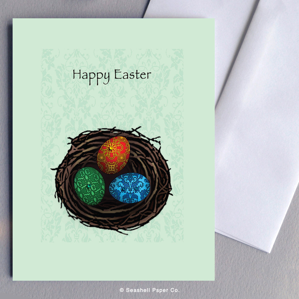 Easter Eggs & Nest Card - seashell-paper-co
