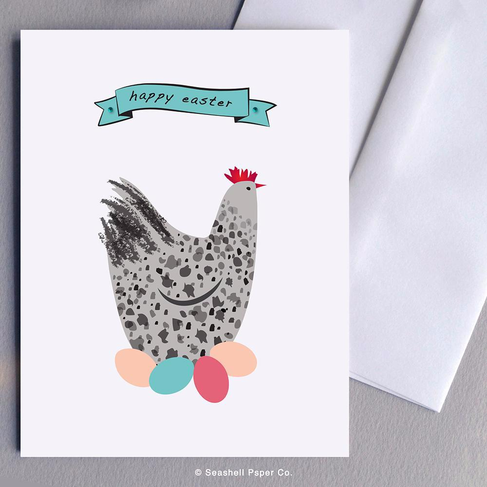 Easter Hen With Eggs Card Wholesale (Package of 6) - seashell-paper-co