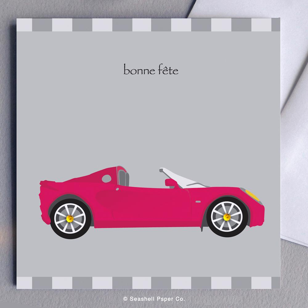 French Birthday Sport Car Card Wholesale (Package of 6)