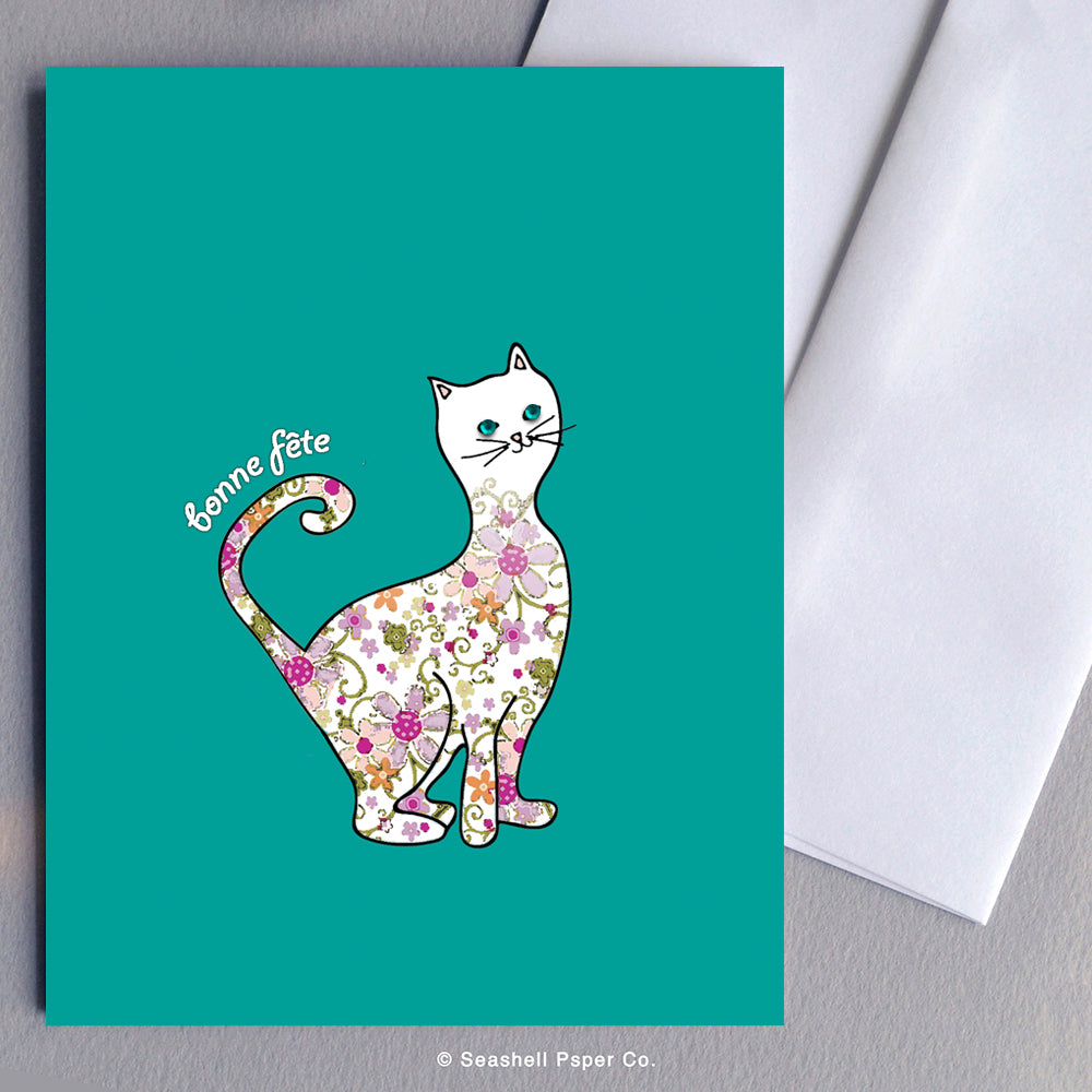 French Birthday Cat Card - seashell-paper-co