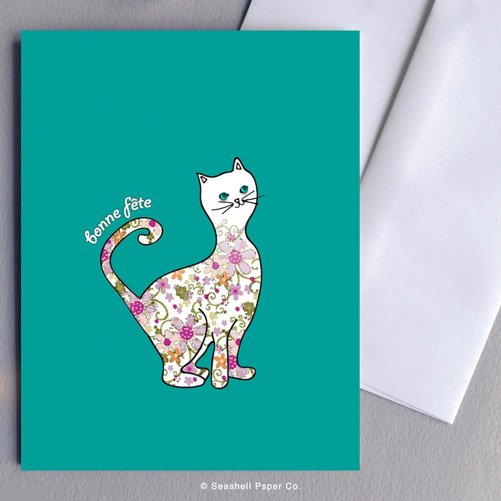 French Birthday Cat Card Wholesale (Package of 6) - seashell-paper-co
