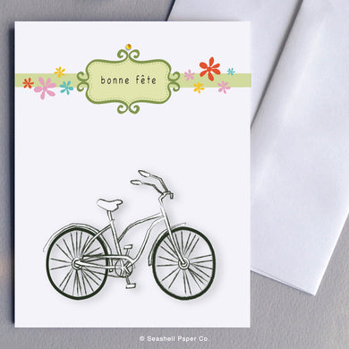 French Cards, French Greeting Cards, Carte de vœux française, Birthday Card, Happy Birthday Card, Bon anniversaire, Bonne fête, Carte de joyeux anniversaire, Carte d'anniversaire, Bicycle Card, Carte vélo, Bicycle Birthday Card, Carte d'anniversaire de bicyclette, Seashell Paper Co., Made in Canada, Fabriqué au Canada