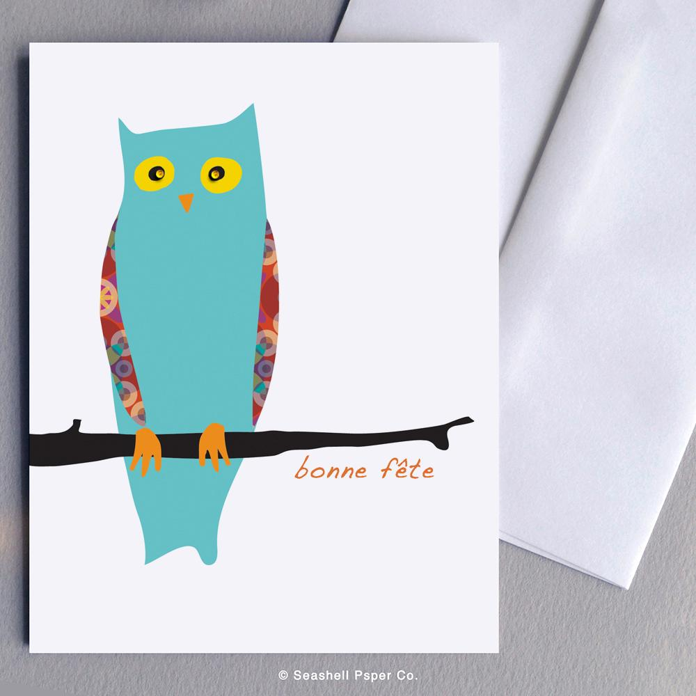 French Birthday Owl Card Wholesale (Package of 6) - seashell-paper-co
