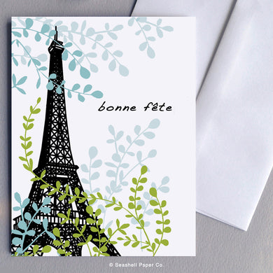 French Card, French Greeting Card, Carte de vœux française, Birthday Card, Happy Birthday Card, Bon anniversaire, Bonne fête, Carte de joyeux anniversaire, Carte d'anniversaire, Eiffel Tower, tour Eiffel, Eiffel Tower Birthday Card, Carte d'anniversaire tour eiffel, Seashell Paper Co, Made in Canada, Fabriqué au Canada