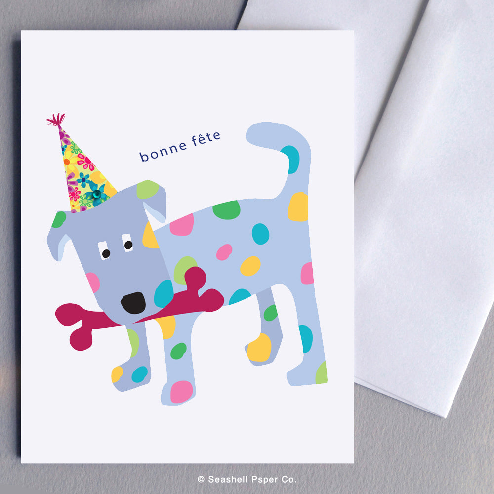 French Greeting Cards, Carte de vœux française, Birthday Card, Happy Birthday Card, Bonne fête, Carte de joyeux anniversaire, Carte d'anniversaire, carte chiot, Dog Birthday Card, Carte d'anniversaire chien Puppy Birthday Card, Carte d'anniversaire chiot, Seashell Paper Co., Made in Canada, Fabriqué au Canada