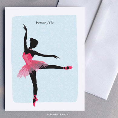 French Cards, French Greeting Cards, Carte de vœux française, Birthday Card, Happy Birthday Card, Bonne fête, Carte de joyeux anniversaire, Carte d'anniversaire, Ballerina Card, Carte ballerine, Ballerina Birthday Card, Carte d'anniversaire ballerine, Seashell Paper Co., Made in Canada, Fabriqué au Canada, Stationnaire