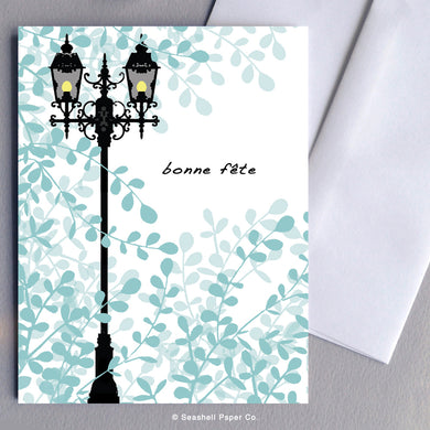 French Cards, French Greeting Cards, Carte de vœux française, Birthday Card, Happy Birthday Card, Bon anniversaire, Bonne fête, Carte de joyeux anniversaire, Carte d'anniversaire, Lamp Post, Lampadaire, Lamp Post Birthday Card, Lamp post Carte d'anniversaire, Seashell Paper Co., Made in Canada, Fabriqué au Canada