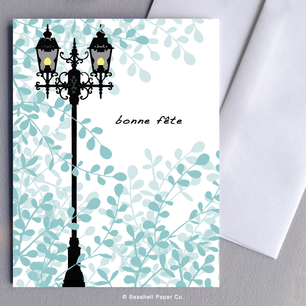 French Birthday Lamp Post Card - seashell-paper-co