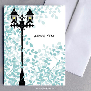 French Birthday Lamp Post Card Wholesale (Package of 6) - seashell-paper-co