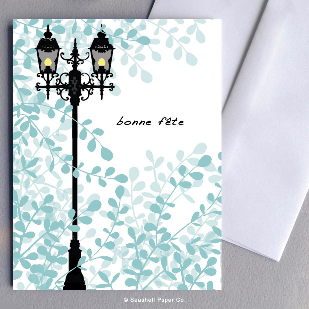 French Birthday Lamp Post Card Wholesale (Package of 6)