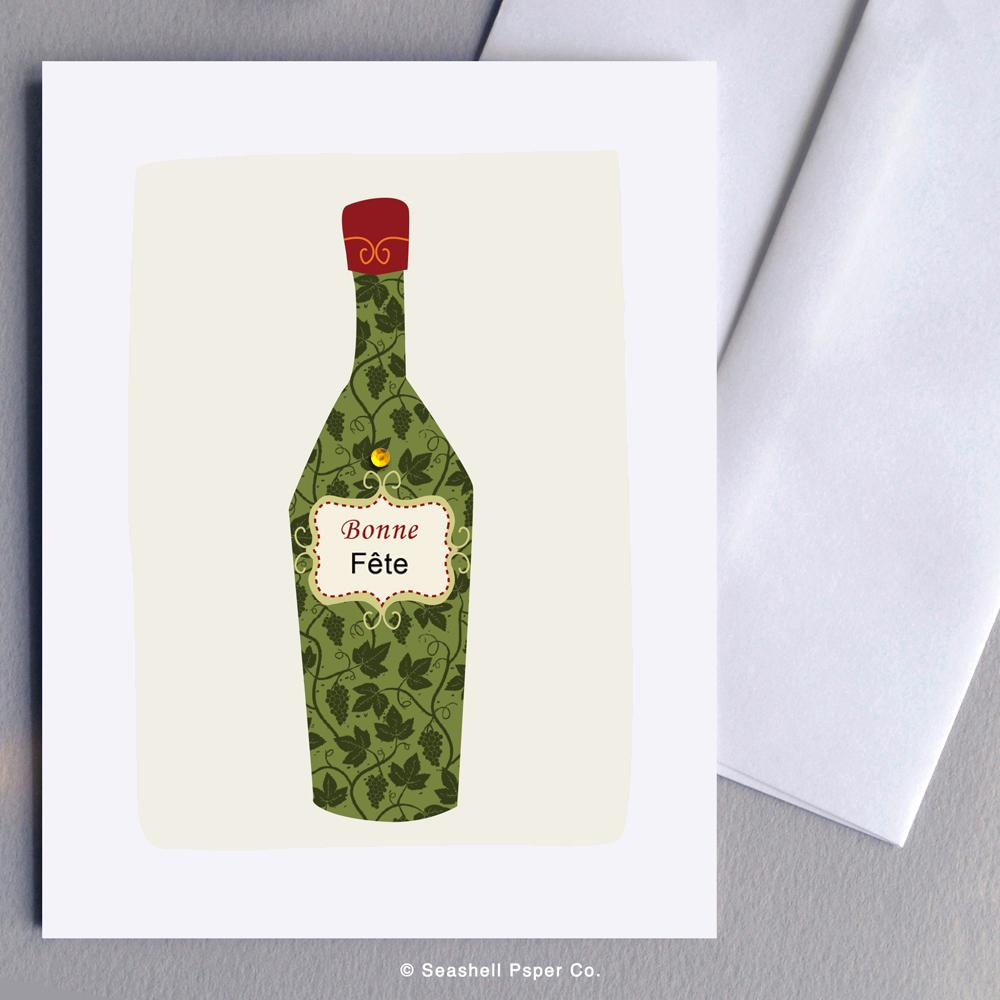 French Birthday Wine Bottle Card Wholesale (Package of 6) - seashell-paper-co