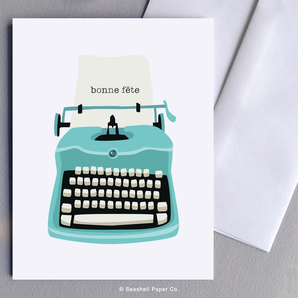 French Birthday Typewriter Card Wholesale (Package of 6)