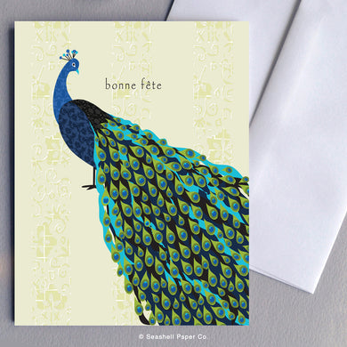 French Cards, French Greeting Card, Carte de vœux française, Birthday Card, Happy Birthday Card, Bon anniversaire, Bonne fête, Carte de joyeux anniversaire, Carte d'anniversaire, Peacock Card, Carte paon, Peacock Birthday Card, Carte d'anniversaire de paon, Seashell Paper Co., Made in Canada, Fabriqué au Canada