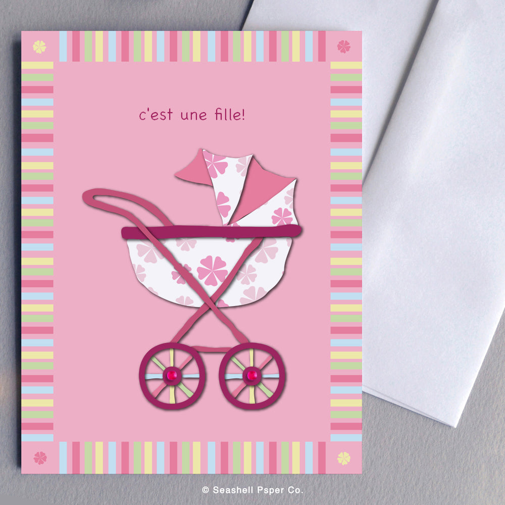 French New Baby Girl Stroller Card - seashell-paper-co