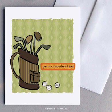 Father's Day Golf Bag Card - seashell-paper-co