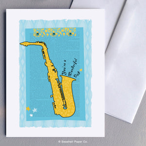 Greeting Cards, Father, Dad, Father's Day, Father's Day Cards, Father's Day Greeting cards, Father's Birthday Card, Father's Birthday Greeting Cards, Greeting Cards for Dad, Birthday Cards for Dad, You're a Wonderful Dad Greeting card, Saxophone, Saxophone card for Dad, Seashell Paper Co., Made in Canada, Sale