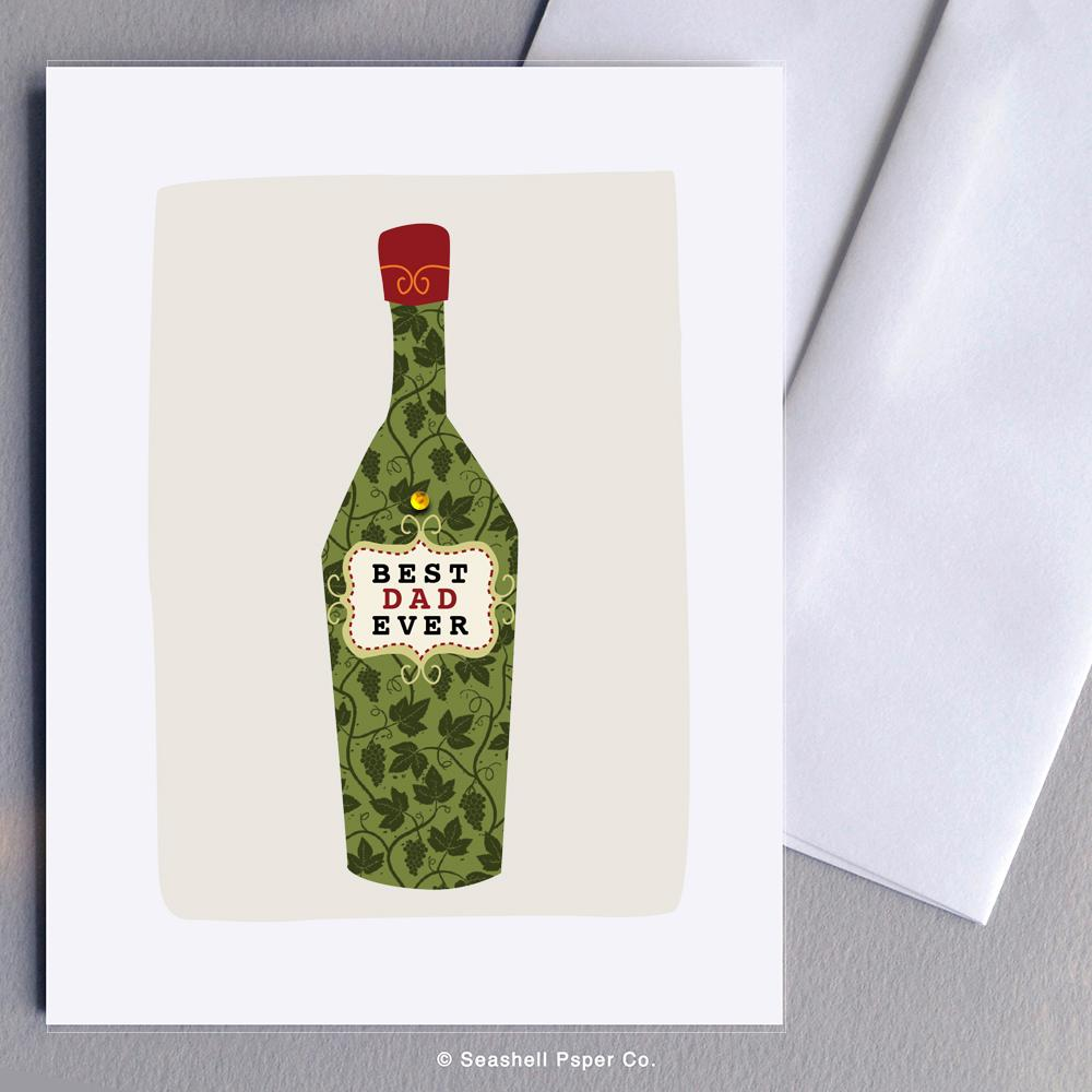 Father's Day Wine Bottle Card Wholesale (Package of 6) - seashell-paper-co