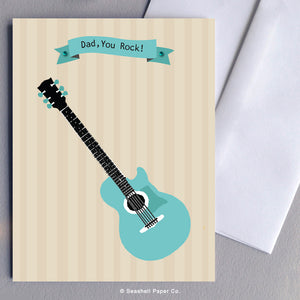 Greeting Cards, Father, Dad, Father's Day, Father's Day Greeting cards, Father's Birthday Card, Father's Birthday Greeting Cards, Dad Greeting Cards, Dad Birthday Cards, Dad Father's Day Cards, Dad You Rock, Guitar, Dad Guitar Birthday Card, Father's Day Guitar Greeting Card, Seashell Paper Co., Made in Canada, Sale