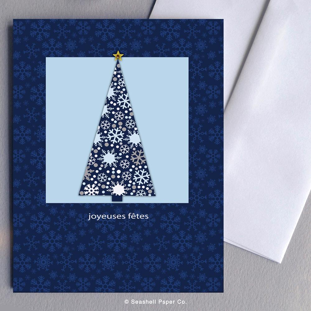 French Holiday Season Christmas Tree Card Wholesale (Package of 6)