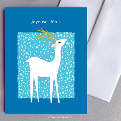 French Holiday Season Deer Card - seashell-paper-co