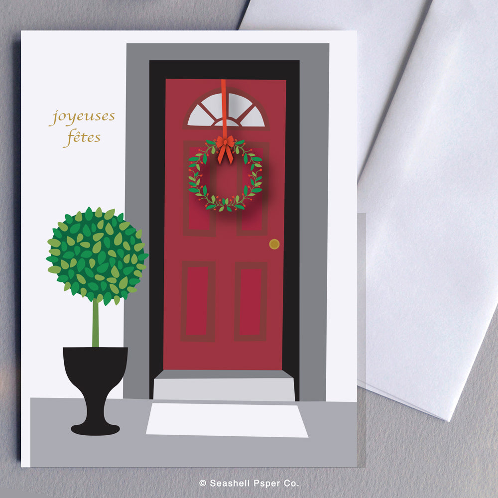 French Holiday Seasons Front Door Card - seashell-paper-co