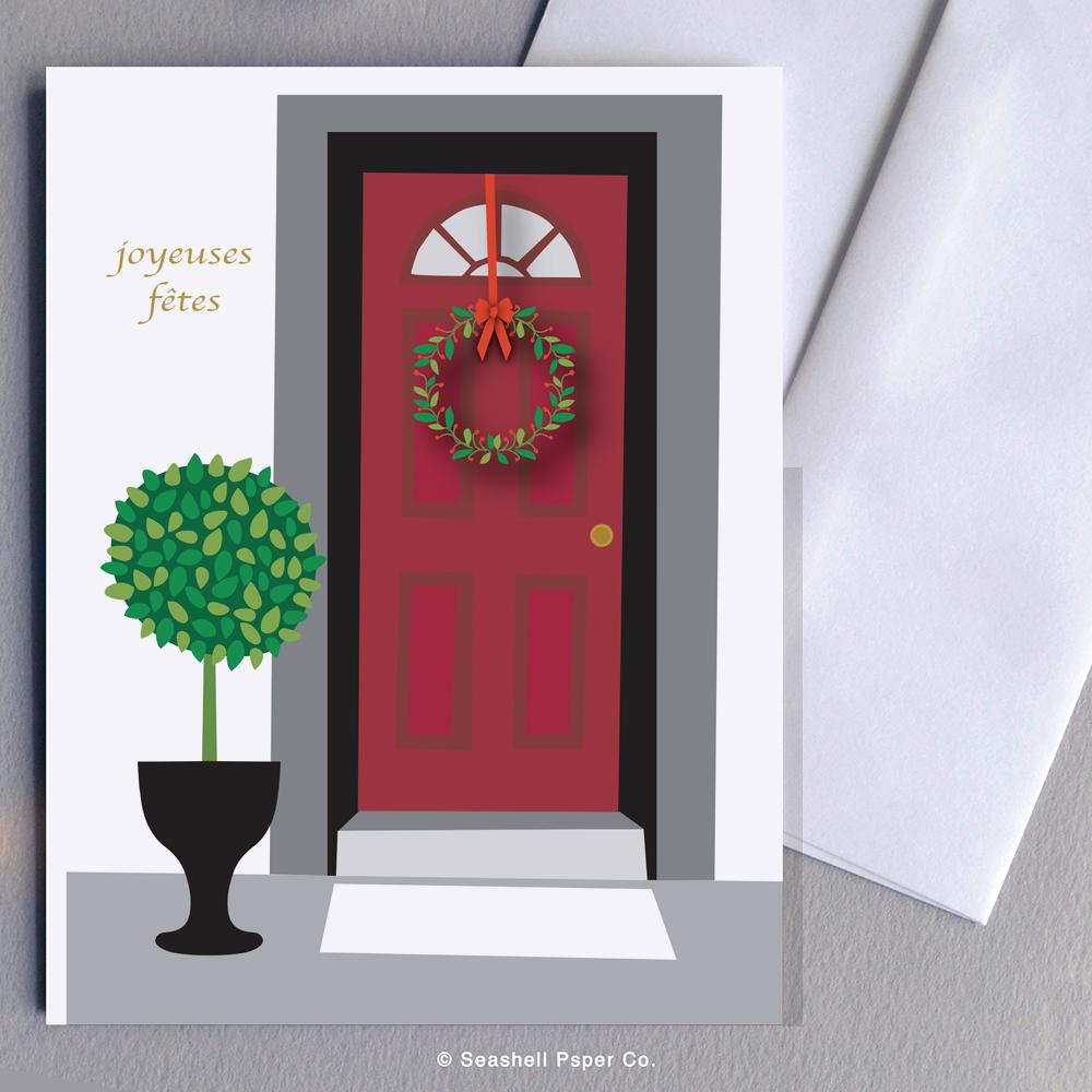 French Holiday Seasons Front Door Card Wholesale (Package of 6) - seashell-paper-co