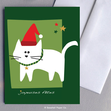 French Holiday Seasons Cat Card - seashell-paper-co