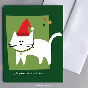 French Holiday Seasons Cat Card Wholesale (Package of 6) - seashell-paper-co