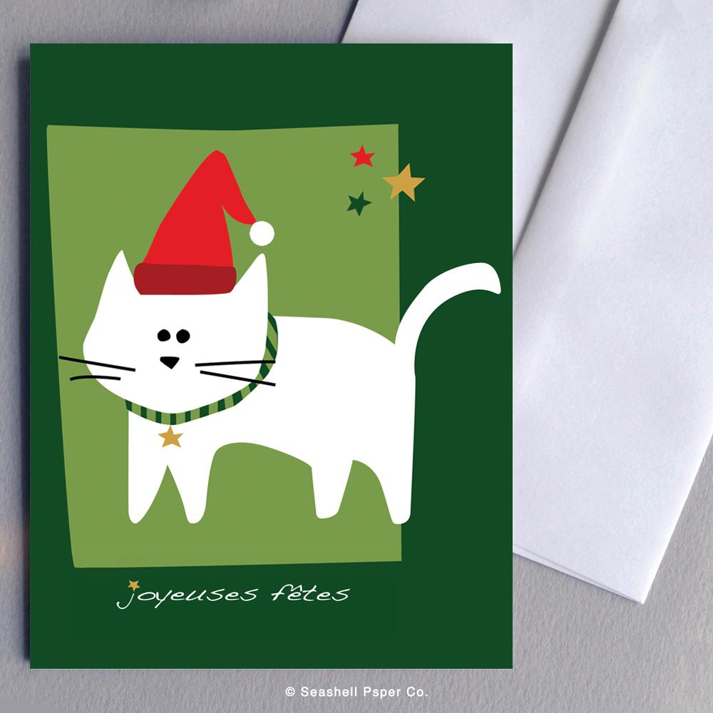 French Holiday Seasons Cat Card Wholesale (Package of 6)