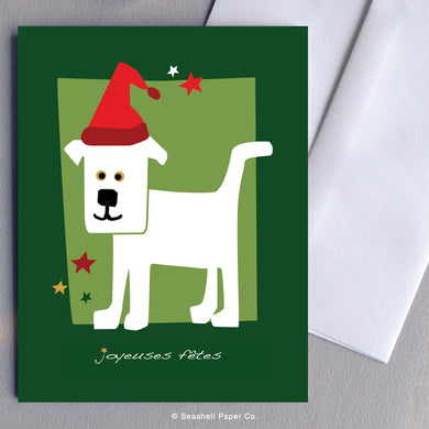 French Holiday Season Dog Card - seashell-paper-co