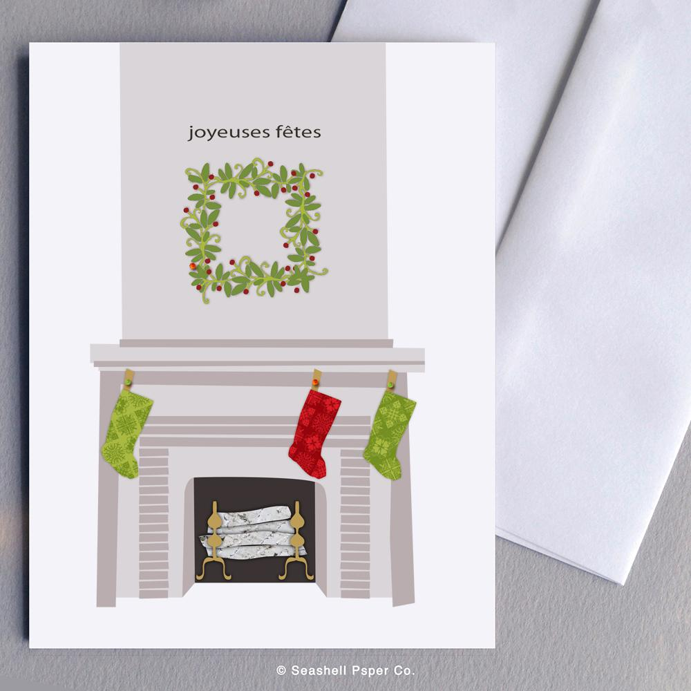 French Holiday Seasons Fireplace Card Wholesale (Package of 6)