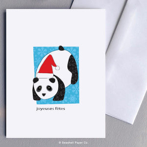 French Holiday Seasons Panda Card Wholesale (Package of 6) - seashell-paper-co