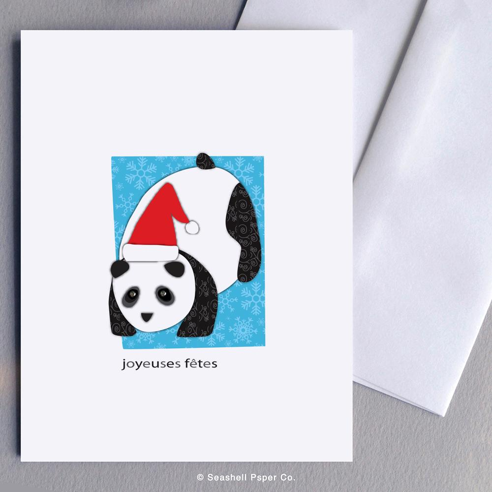 French Holiday Seasons Panda Card Wholesale (Package of 6)