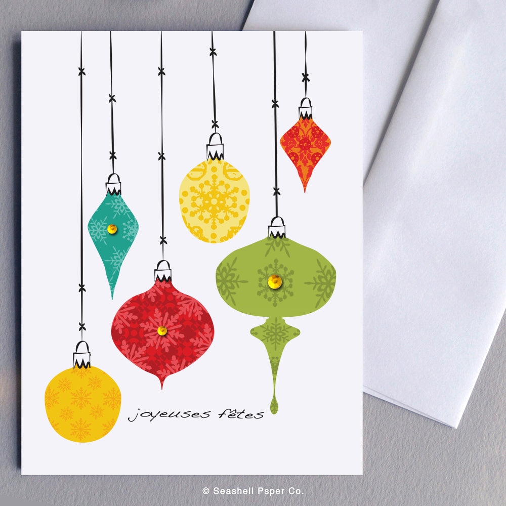 French Card, French Greeting Card, Carte de vœux française, Noël, Carte de Noël, Seasons Greetings Card, Carte de voeux de saisons, Happy Hollidays, Joyeuses fêtes, Happy Hollidays Card, Carte de joyeuses fêtes, Christmas Ornaments, Décorations de Noël, Seashell Paper Co., Made in Canada, Fabriqué au Canada