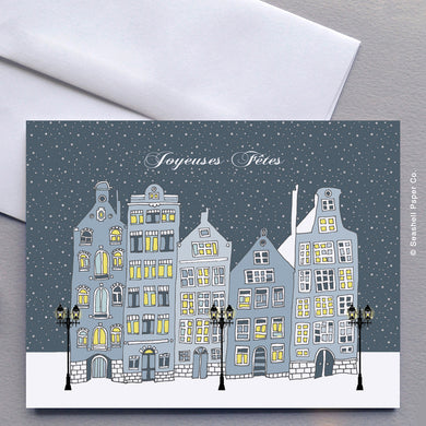 French Card, French Greeting Card, Carte de vœux française, Christmas, Noël, Christmas Card, Carte de Noël, Seasons Greetings Card, Carte de voeux de saisons, Happy Hollidays, Joyeuses fêtes, Happy Hollidays Card, Carte de joyeuses fêtes, Seashell Paper Co., Made in Canada, Fabriqué au Canada, Stationary, Stationnaire