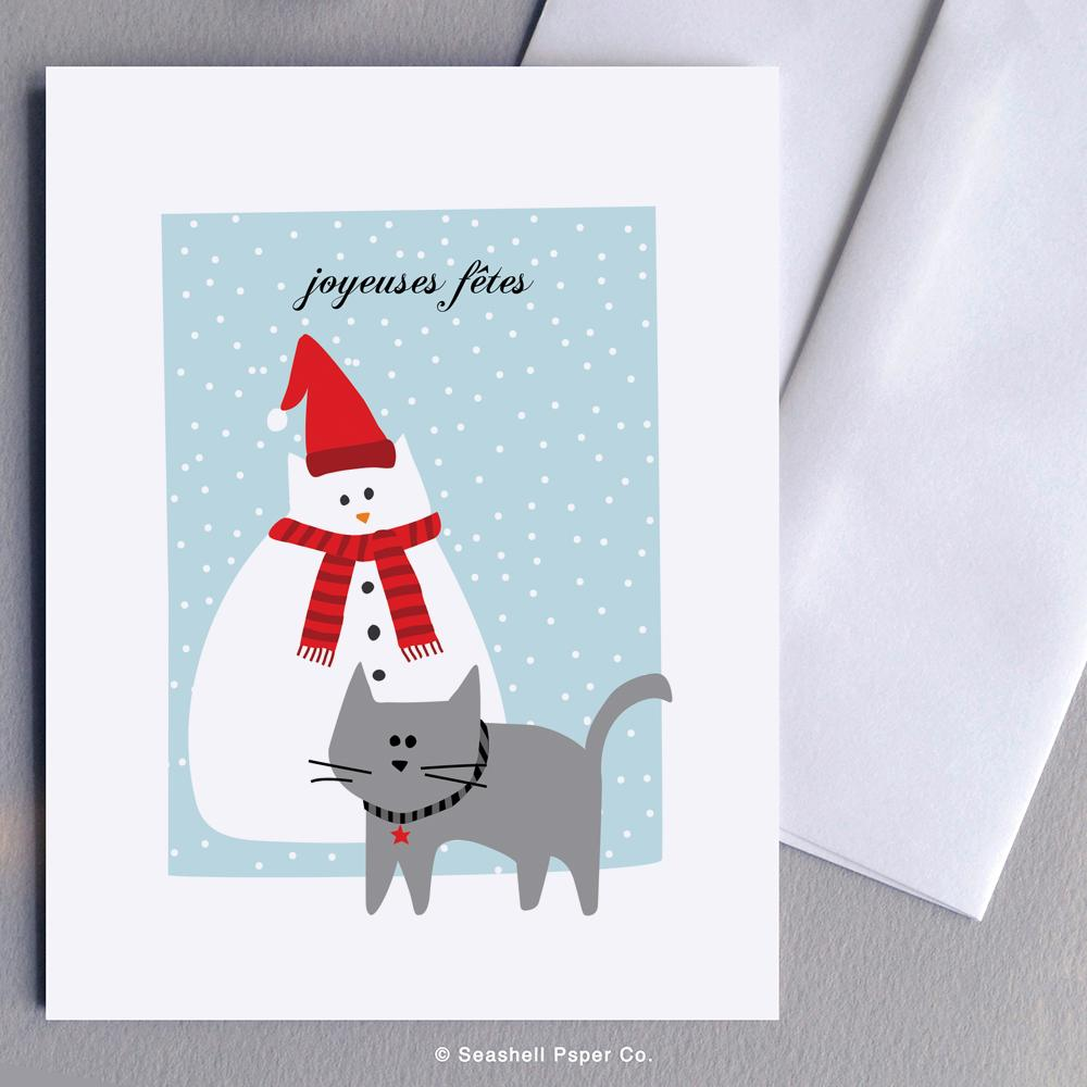 French Holiday Seasons Cat Snowman Card Wholesale (Package of 6) - seashell-paper-co