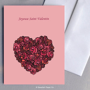 French Love Valentine's Day Roses & Heart Card - seashell-paper-co